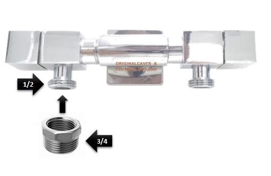 Torneira Slim luxo quadrada com saida de 1/2 + adaptador 1/2 para 3/4