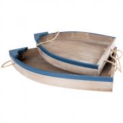 Bandeja Madeira Barco - Kit 2 Pcs