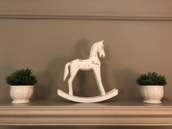Cavalo Balanço Madeira Branco