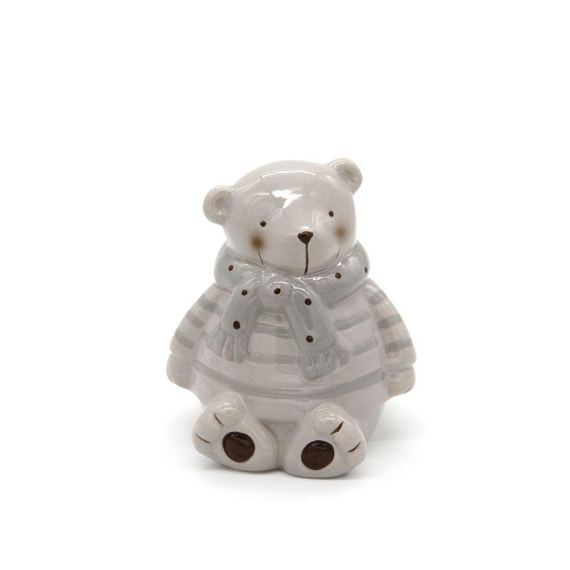 Cofrinho Urso Cerâmica Cinza