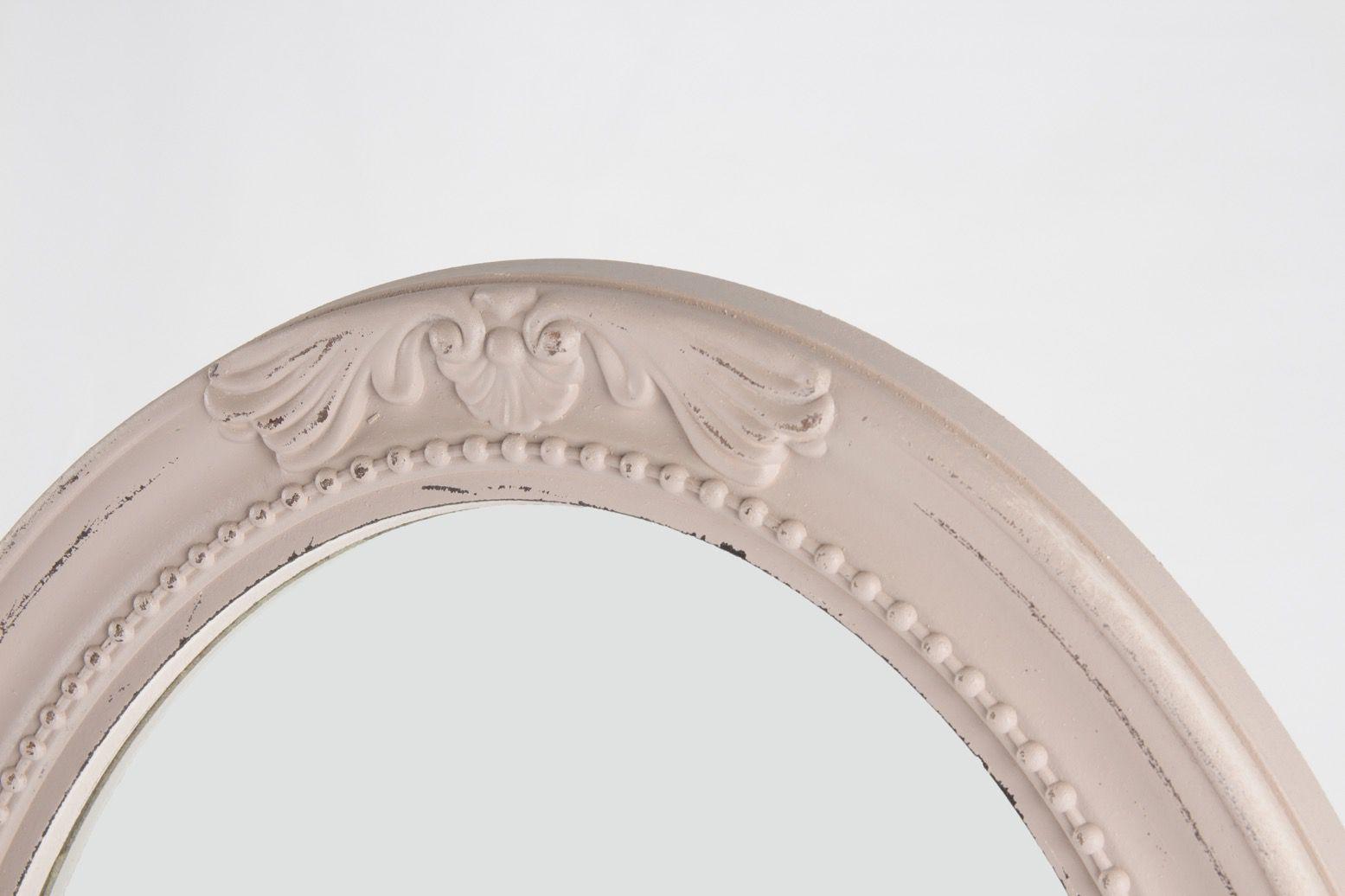 Espelho Betina Oval Moldura Madeira Entalhada