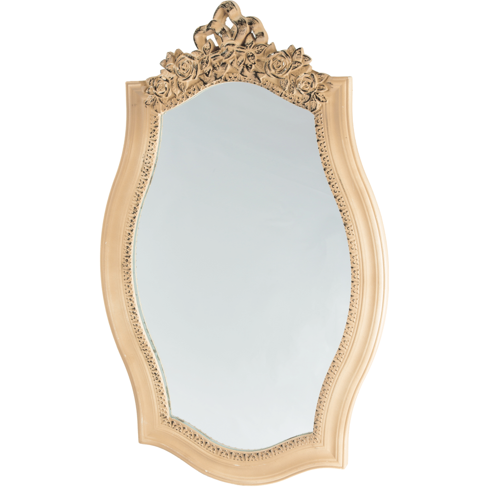 Espelho Oval Moldura Madeira Entalhada