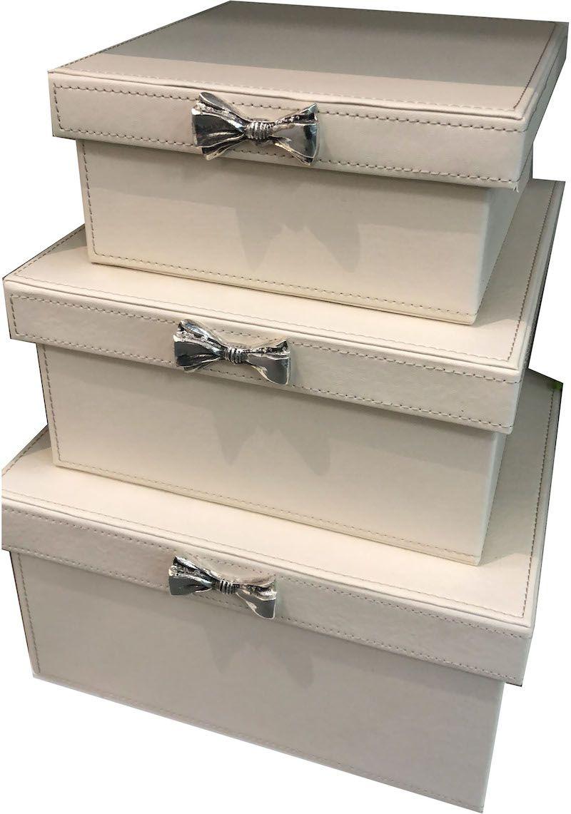 Kit Caixas De Couro Laço