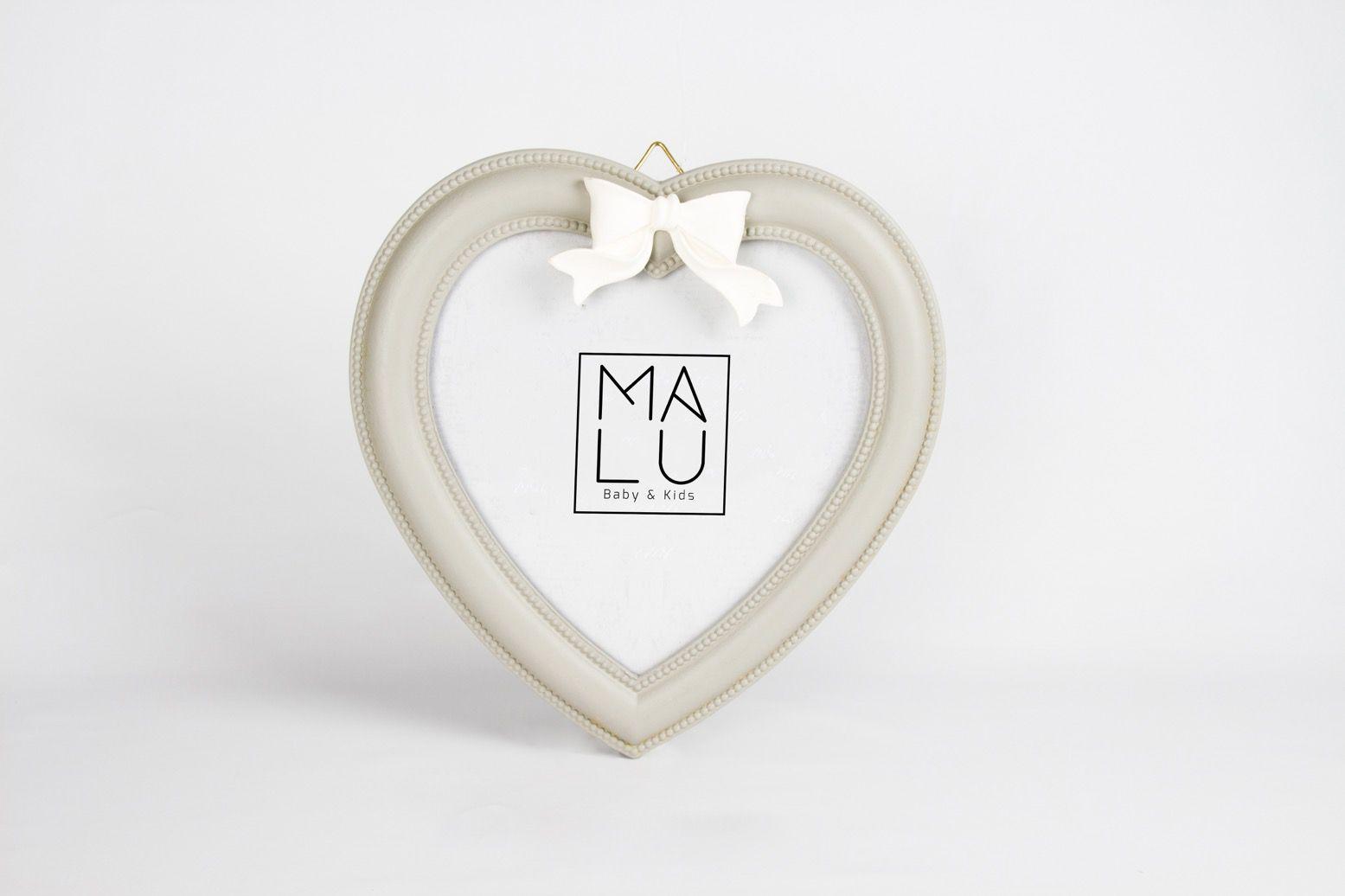 Porta Retrato Madeira Coração/Laço G