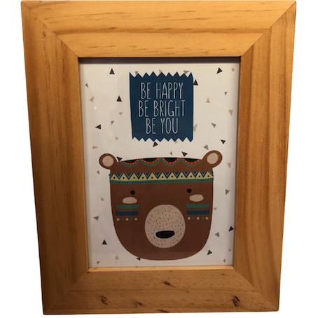 Porta Retrato Madeira Urso