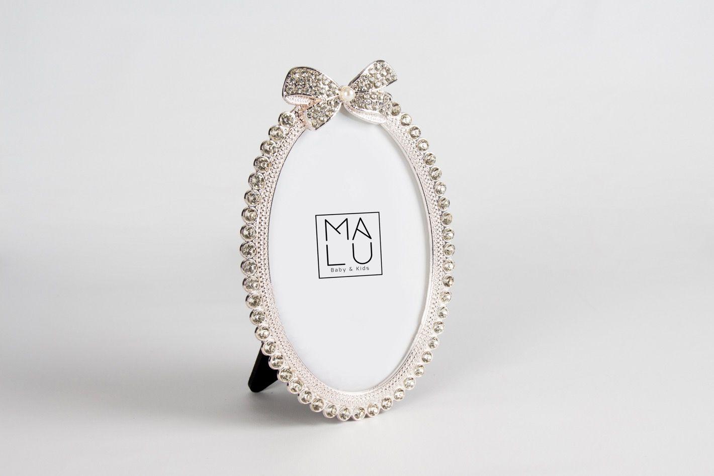 Porta Retrato Metal Oval Laço/Strass