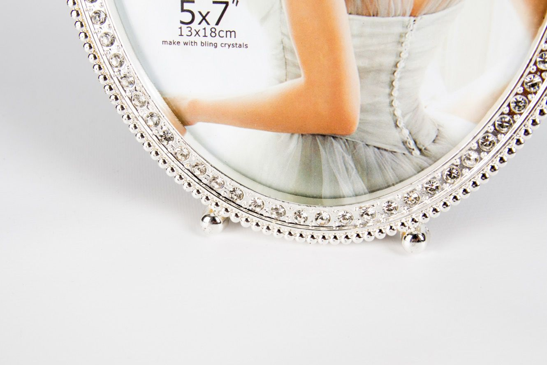 Porta Retrato Metal Oval Laço Vazado/Strass G