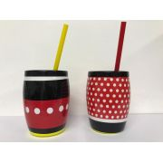Copo Mickey e Minnie com Canudo 650ml