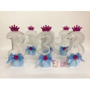Kit com 10 Tubetes Acrílico 12cm Princesas número 3
