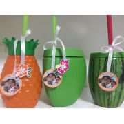 KIT Copo Coco verde, abacaxi e melancia + Tag