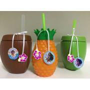 KIT Copo Coco verde, Coco Marrom e Abacaxi + Tag