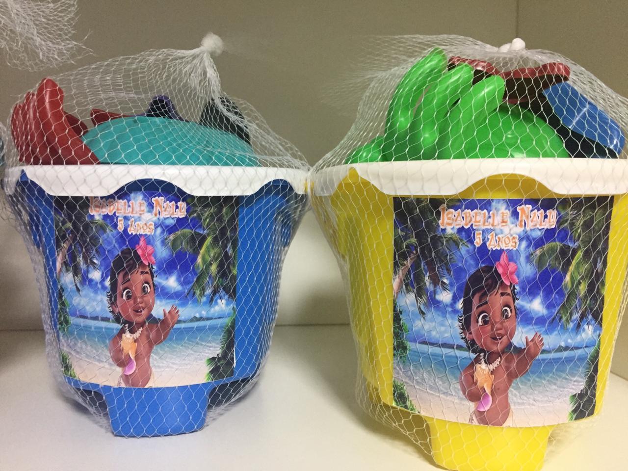 Kit com 10 baldes de praia Moana baby