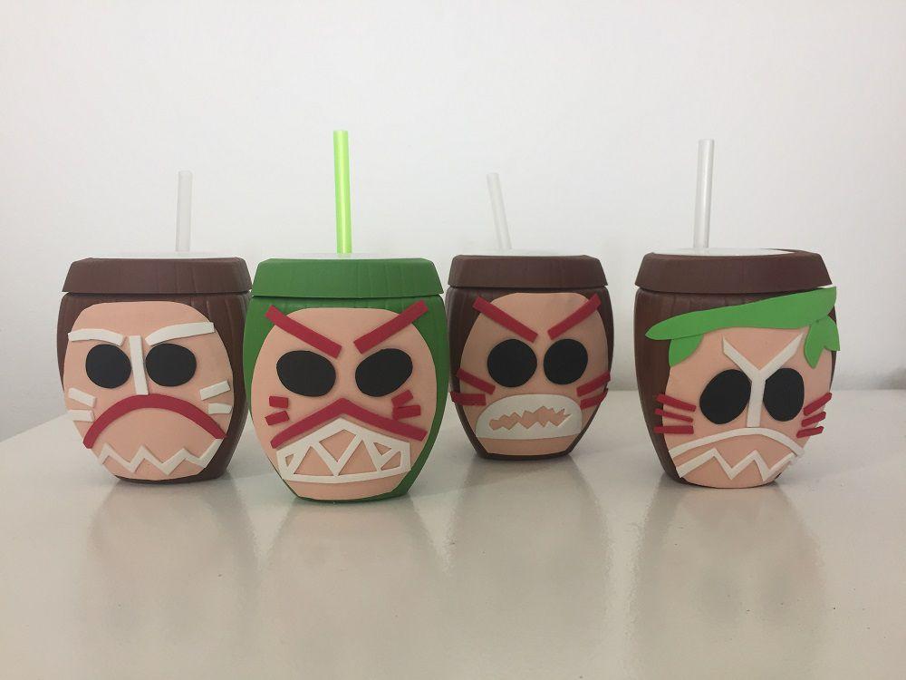 Copo Coco Verde e Marrom com Canudo + Carranca