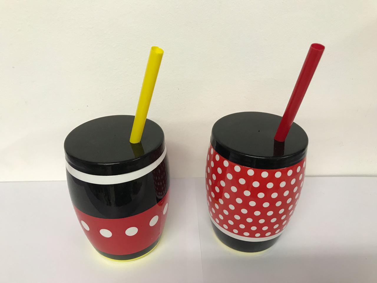 Copo Mickey e Minnie com Canudo 650ml
