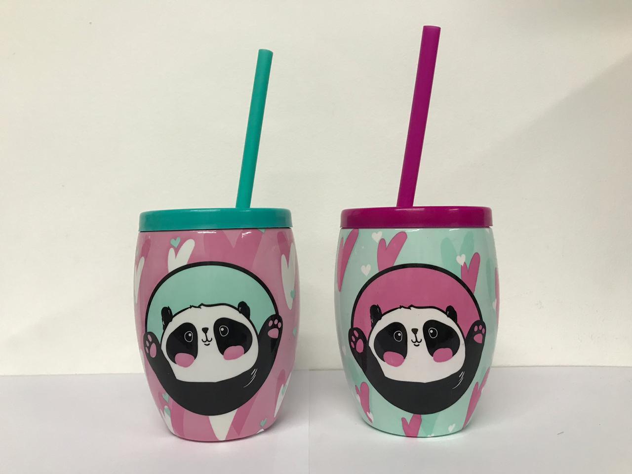 Copo Panda com Canudo 650ml