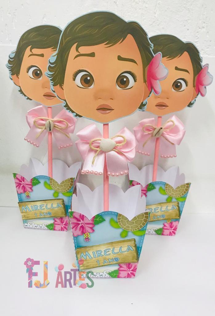 Enfeite de mesa Moana Baby - kit com 5