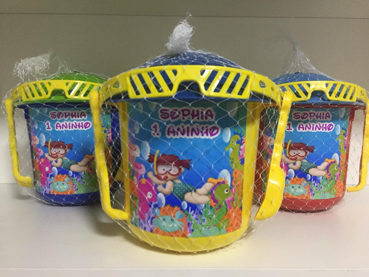 Kit com 10 baldes  de praia Fundo do mar