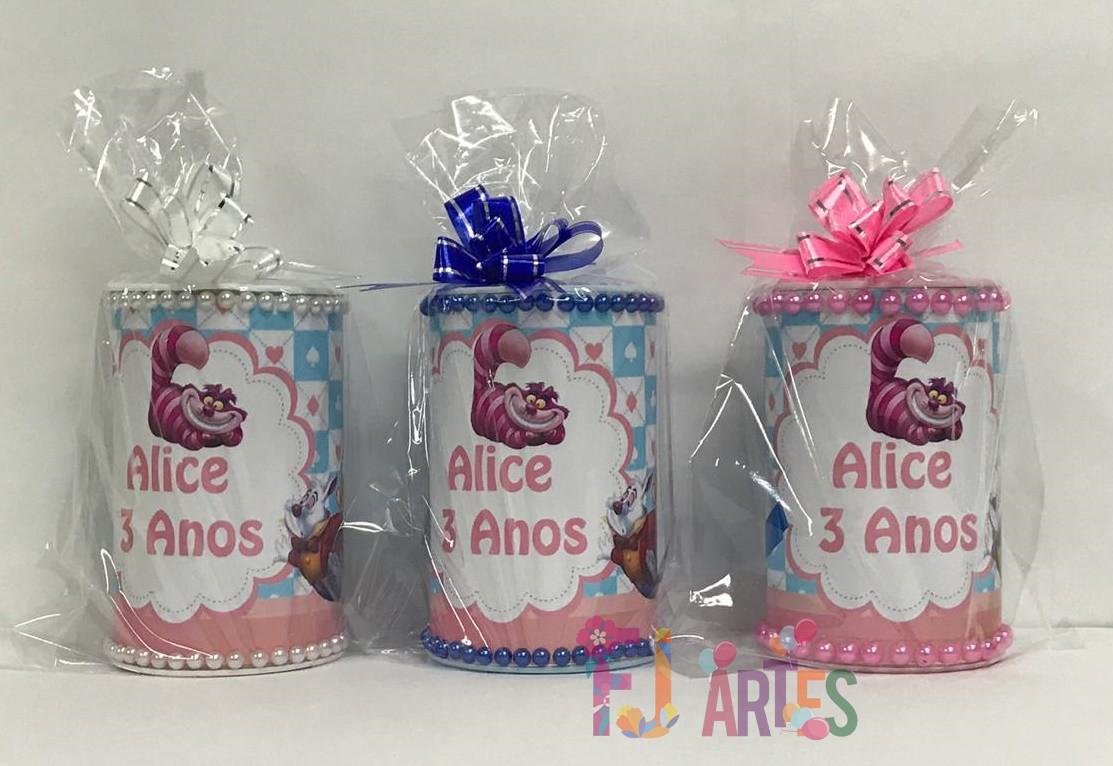 Kit com 10 Cofrinhos Alice no País das Maravilhas com embalagem