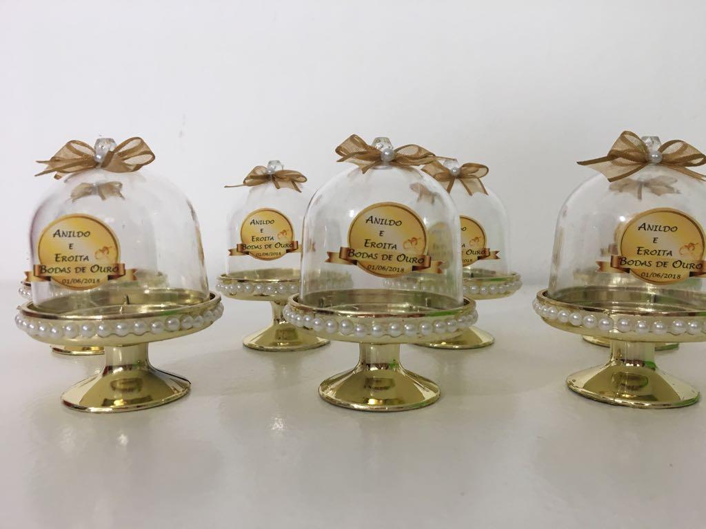 Kit com 10 Mini Cúpulas Bodas de Ouro