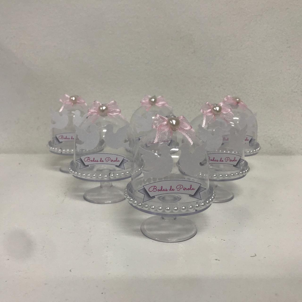 Kit com 10 Mini Cúpulas bodas de pérola