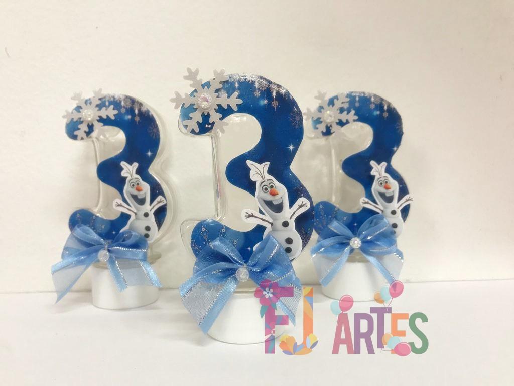 Kit com 10 Tubetes Acrílico 12cm Frozen número 3