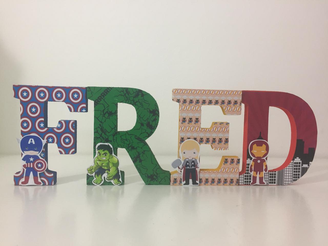 Letras em MDF Mini Heróios 3D 12cm