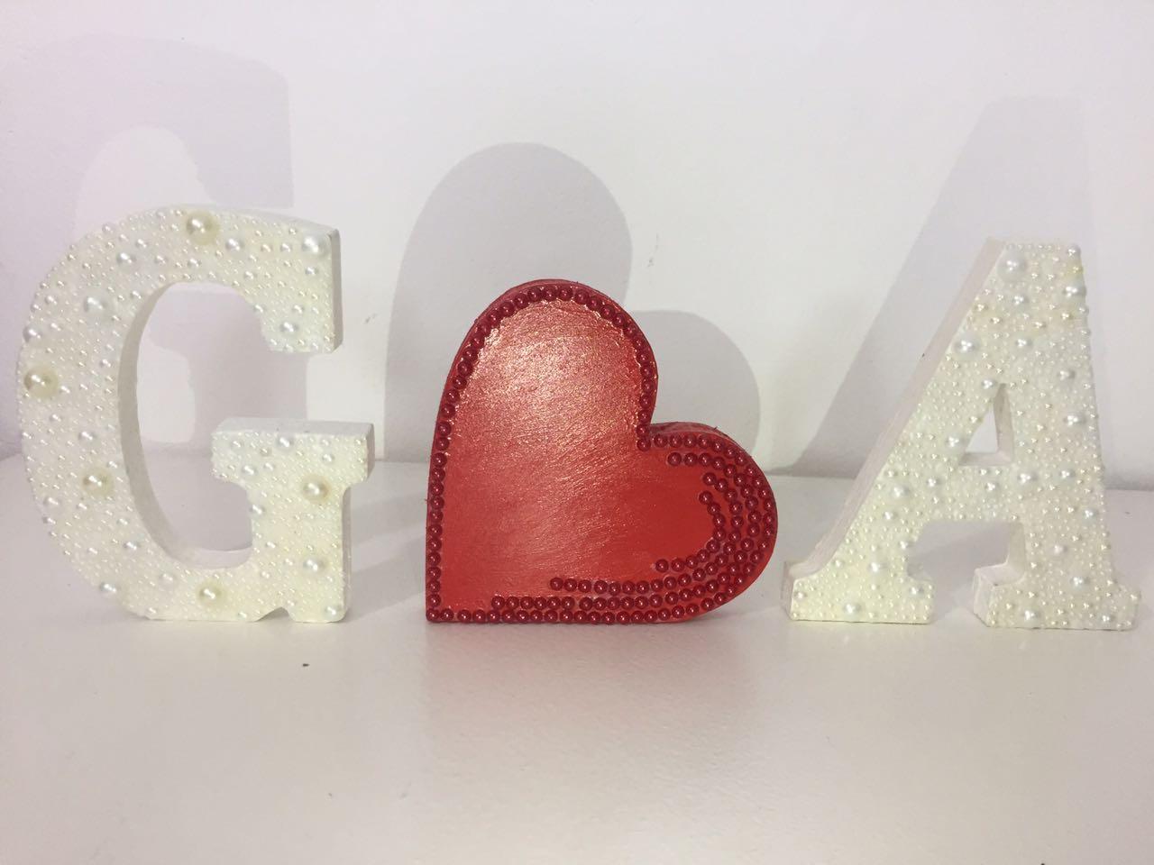 Kit com 3 Letras em MDF Noivado ou Casamento 12cm