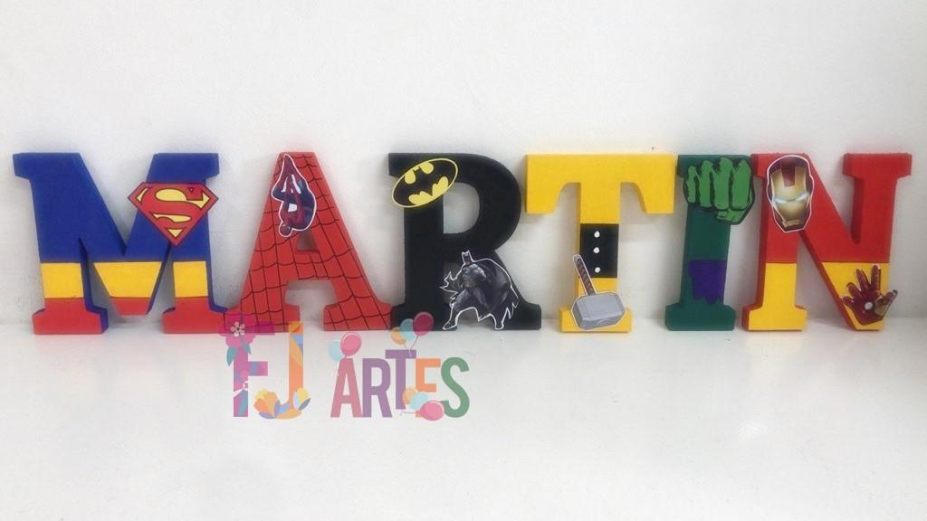 Letras em MDF Super Heróis 3D 12cm