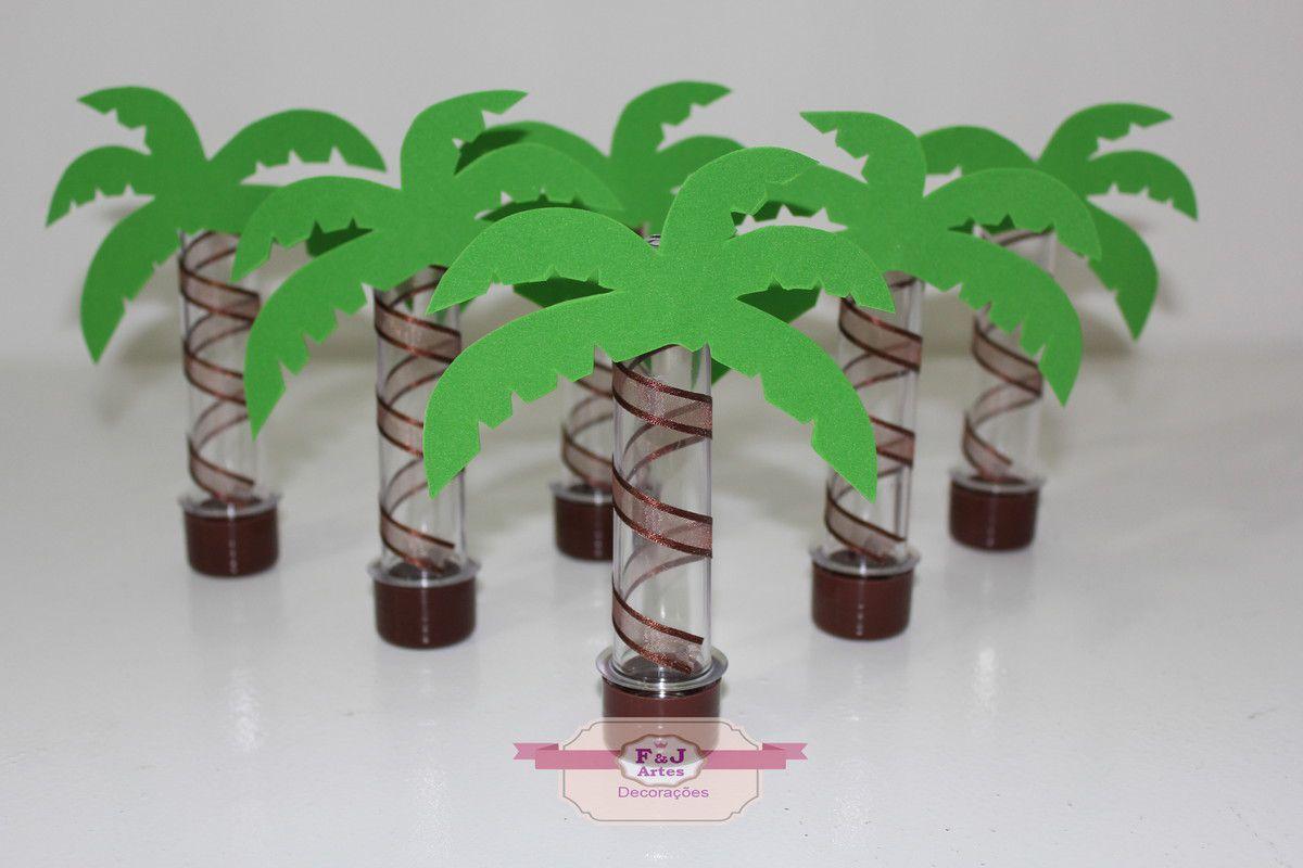 Kit com 10 Tubetes Acrílico 12cm Coqueiro Moana