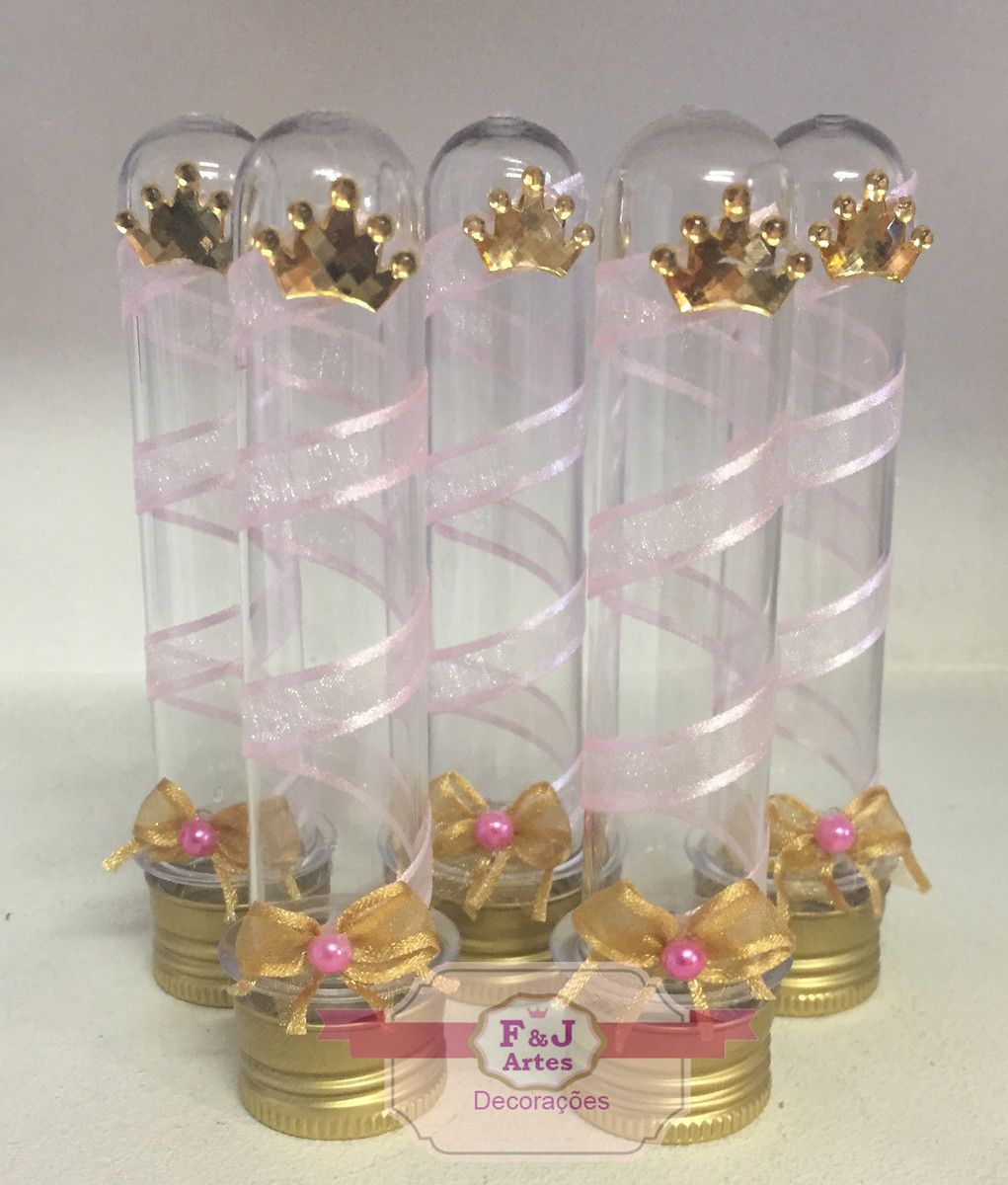 Kit com 10 Tubetes Acrílico Princesa realeza
