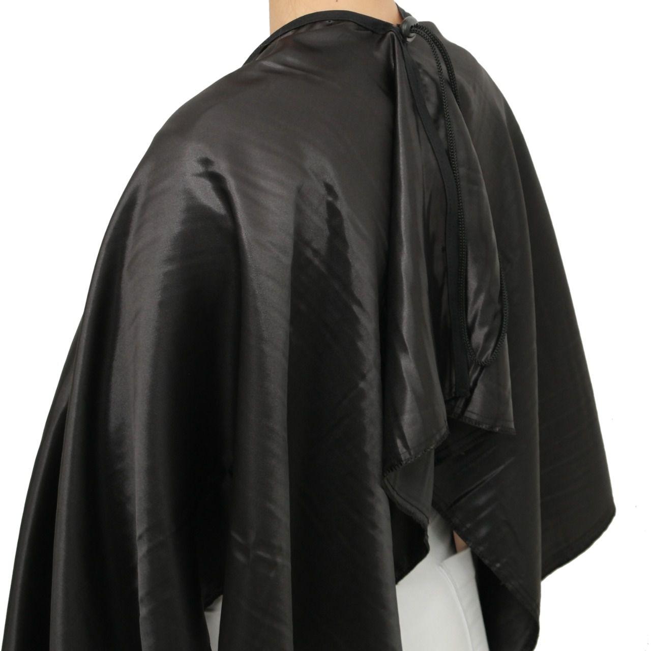 Capa de Corte Cabeleireiro Barbeiro Cetim Brilho Fecho Cordão