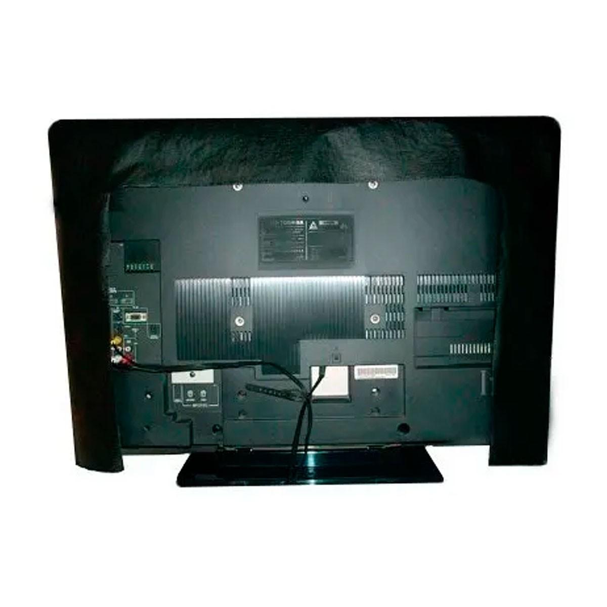 Capa Para TV De Luxo Em Corino Para TV LED e LCD - COR PRETA