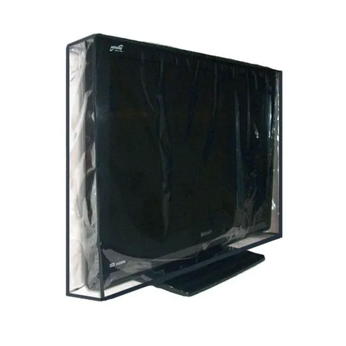 Capa Para Tv Led 47 Polegadas Em Pvc Cristal Transparente 100% Impermeável - Aberta Para Suporte De Parede