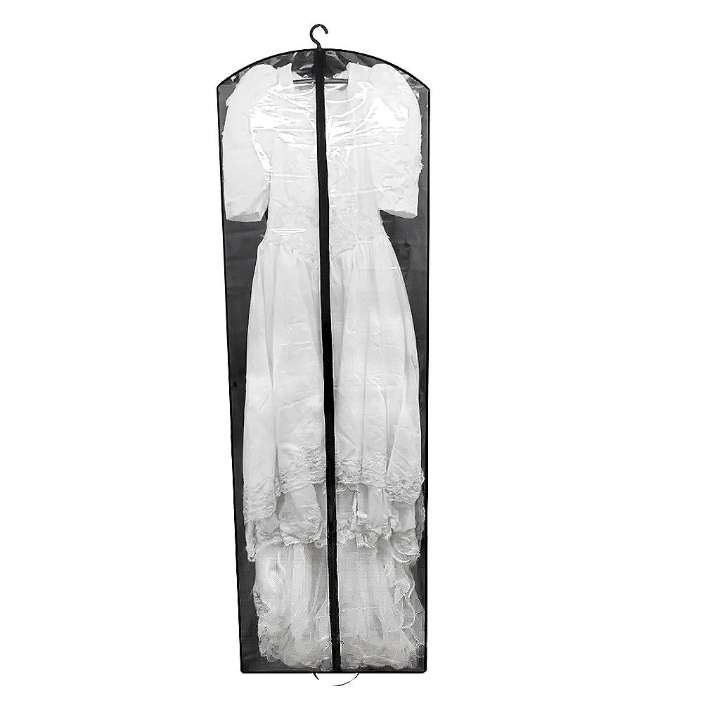 Capa para Vestido de Noiva Frente em PVC Cristal (transparente) - COM LATERAL (profundidade)