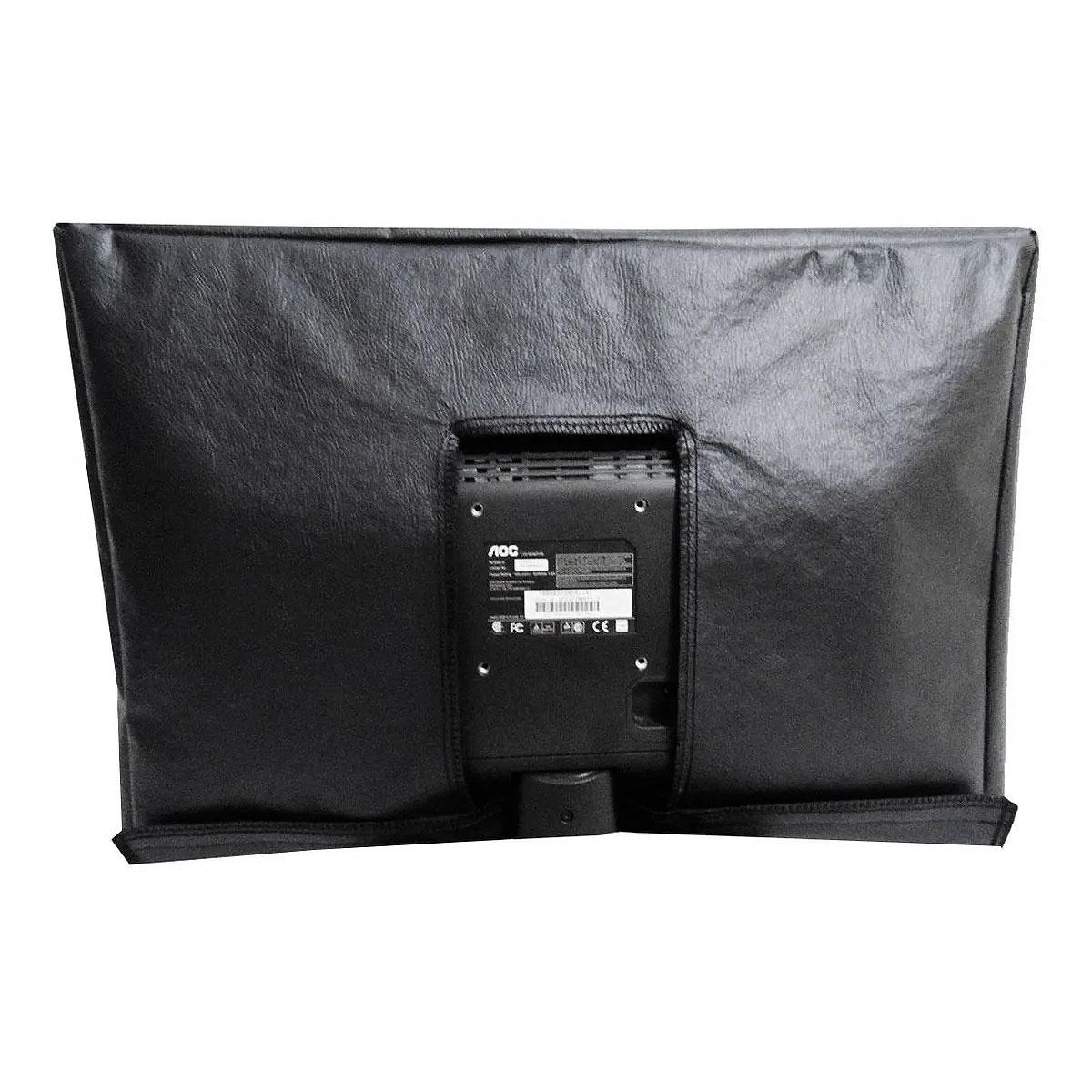 Capa Tv LED ou LCD Em Corino Com Velcro - Não Sai Com O Vento - PRETA