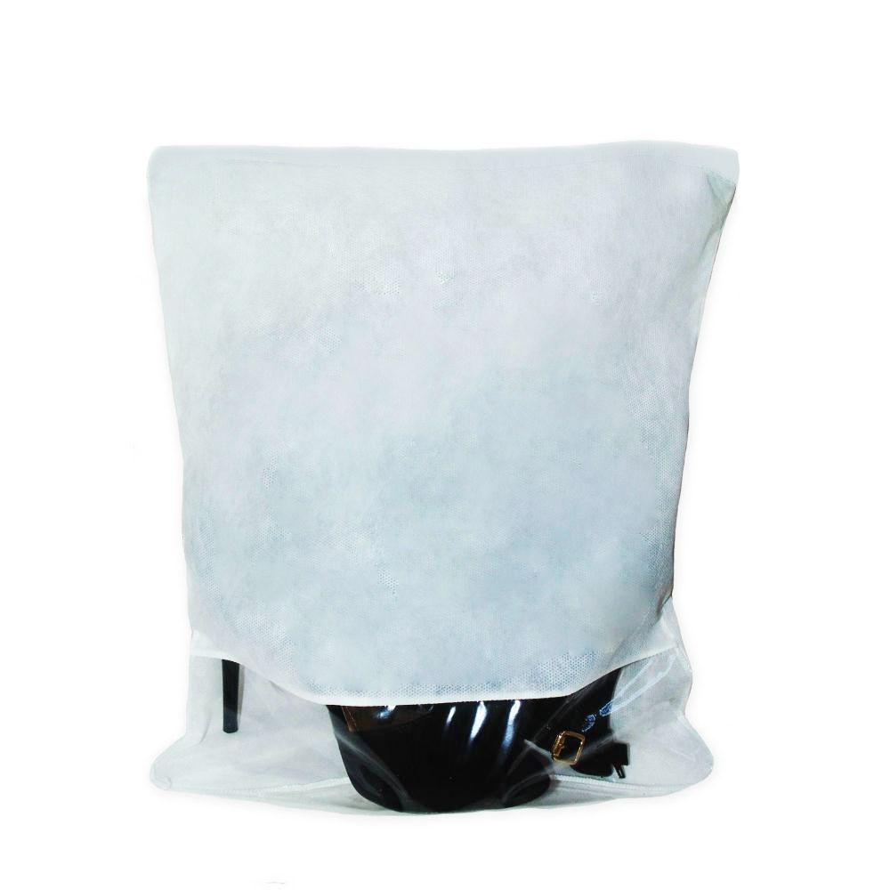 Kit com 10 Saquinho TNT 80 pra sapato|32x40cm|Fechamento Zíper| Visor 10cm