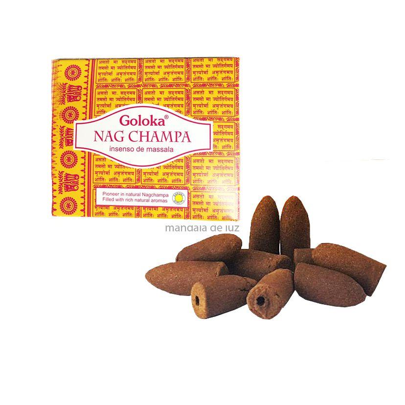 10 incensos - Cone Backflow Nag Champa Cascata Goloka Massala