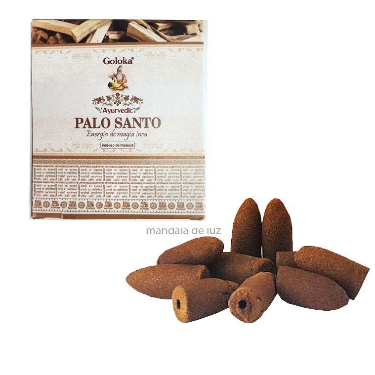 10 incensos - Cone Backflow Palo Santo Cascata Goloka Massala