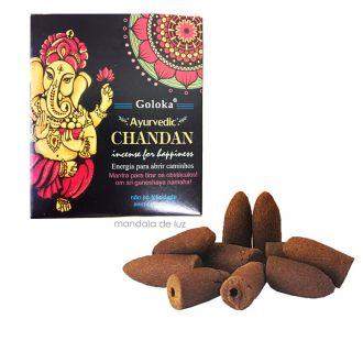 10 incensos - Cone Backflow Chandan Ganesha Cascata Goloka