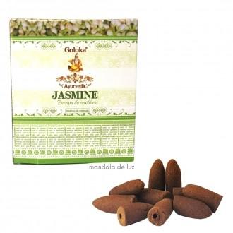 10 incensos - Cone Cascata Backflow Jasmine Goloka