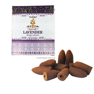 10 incensos - Cone Backflow Lavender Lavanda Cascata Goloka