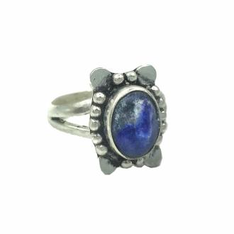 Anel Indiano Pedra Lápis Lazuli Natural Banhado a Prata