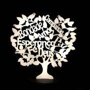 Árvore com Base Palavras MDF Branca 13cm