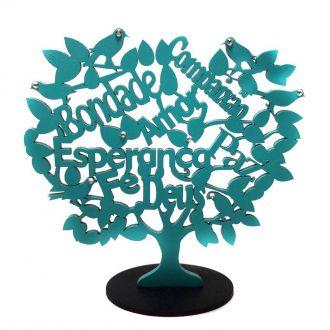 Árvore com Base Palavras MDF Verde Tiffany 13cm