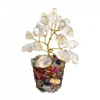 Árvore de Pedras Cristal Quartzo Transparente 8cm