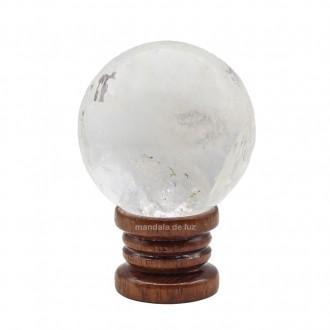 Bola de Cristal Quartzo Transparente Natural na Base de Madeira