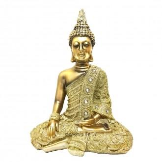 Buda Hindu Dourado Resina com Strass e Glitter 23cm