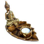 Buda Tibetano Incensário e Castiçal Folha 15cm