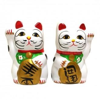 Dupla Casal Gato da Sorte com Cofre - Maneki Neko 10cm