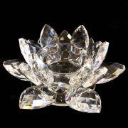 Castiçal de Cristal Transparente Flor de Lótus 13cm